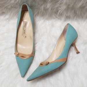 Jimmy Choo Boutique blue & tan pointed toe heels